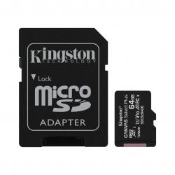 کارت حافظه microSDXC کینگستون مدل CANVAS کلاس 10 استاندارد UHS-I U1 سرعت 100MBps ظرفیت 64 گیگابایت به همراه آداپتور SD