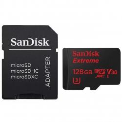 کارت حافظه microSDXC سن دیسک مدل Extreme V30 کلاس 10 استاندارد UHS-I U3 سرعت 90MBps 600X همراه با آداپتور SD ظرفیت 128 گیگابایت