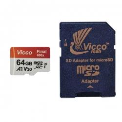 کارت حافظه microSDXC ویکومن مدل Final 600X کلاس 10 استاندارد UHS-I U3 سرعت 90MBps ظرفیت 64 گیگابایت به همراه آداپتور SD