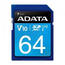 کارت حافظه SDXC ای دیتا مدل Premier V10 کلاس 10 استاندارد UHS-I U1 سرعت 100MBps ظرفیت 64 گیگابایت