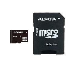 کارت حافظه microSDHC ای دیتا مدل Premier کلاس4 استاندارد UHS-I U1 سرعت 50MBps ظرفیت 4 گیگابایت به همراه آداپتور SD