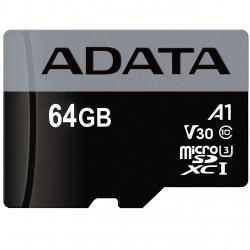 کارت حافظه microSDXC ای دیتا مدل Premier Pro V30 A1 کلاس 10 استاندارد UHS-I U3 سرعت 100MBps ظرفیت 64 گیگابایت