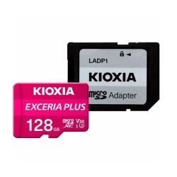 کارت حافظه microSDXC کیوکسیا مدل EXCERIA PLUS کلاس 10 استاندارد UHS-1 U3 سرعت 100MBps ظرفیت 128 گیگابایت به همراه آداپتور SD