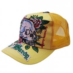 کلاه کپ بچگانه مدل جمجمه رنگ زرد