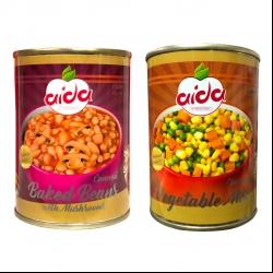 کنسرو لوبیا چیتی با قارچ آیدا – 380 گرم و کنسرو سبزیجات آیدا – 380 گرم