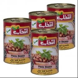 کنسرو لوبیا چیتی با سس گوجه فرنگی انتخاب – 420 گرم بسته 4 عددی