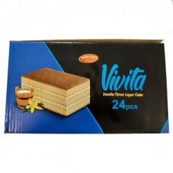 کیک سه لایه با کرم وانیلی ویویتا شیرین وطن – 60 گرم بسته 24 عددی