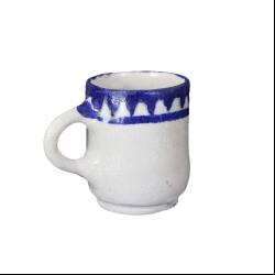 لیوان سفالی آرانیک دسته دار نقاشی رولعابیرنگ سفید طرح هندسی مدل 1002900006