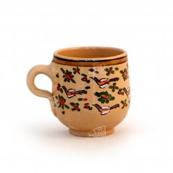 لیوان سفالی آرانیک دسته دار نقاشی زیر لعابی رنگ قهوه ای روشن طرح پرنده مدل 1002900003