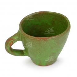 لیوان سفالی آرانیک دسته دار لعاب ساده  رنگ سبز طرح طبیعت  مدل 1002900015
