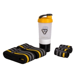 مچ بند و زانو بند چمپکس مدل 3XP Yellow-Grey مجموعه 4 عددی به همراه شیکر چمپکس سایز freesize