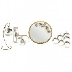 مجموعه ظروف هفت سین 11 پارچه مدل ترمه طلا کد 30