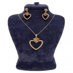 نیم ست طلا 18 عیار زنانه گالری یارطلا مدل قلبی کد NS47