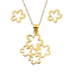 نیم ست طلا 18 عیار زنانه کاپانی مدل گل کد KS012