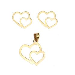 نیم ست طلا 18 عیار زنانه کرابو طرح قلب مدل Kr8003