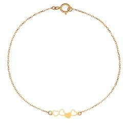 پابند طلا 18 عیار زنانه کرابو طرح قلب پر و خالی مدل Kr2064