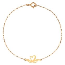 پابند طلا 18 عیار زنانه کرابو طرح قو و قلب مدل Kr2067