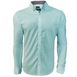 پیراهن آستین بلند مردانه مدل سایز بزرگ رنگ سبز آبی                     غیر اصل