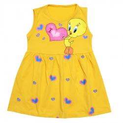 پیراهن دخترانه مدل JOOJE34 رنگ زرد