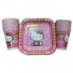 پیش دستی و لیوان یکبار مصرف مدل hello kitty مجموعه 40 عددی