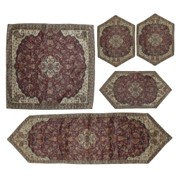 رومیزی ترمه سنتی یزد مدل T1_85 مجموعه 5 عددی