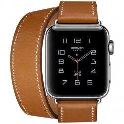 ساعت هوشمند اپل واچ هرمس سری 2  مدل 38mm Stainless Steel Case with Fauve Barenia Leather Double Tour