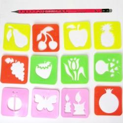 شابلون مدل گل و میوه کد 001 مجموعه 12عددی به همراه مداد