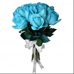 شاخه گل رز هلندی آبی دسته 20 عددی