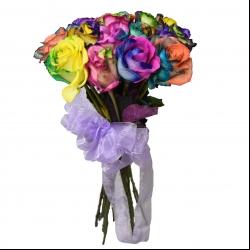 شاخه گل رز هلندی هفت رنگ دسته 20 عددی