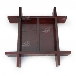 شکلات خوری چوبی ساده رنگ زرشکی طرح دو تکه مدل 1001500010
