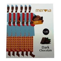 شکلات تلخ 85 درصد مروسا مقدار 100 گرم بسته 6 عددی