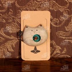 سنجاق سینه چوبی رنگ آمیزی طرح گربه مدل 1512500003