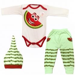 ست 3 تکه لباس نوزادی مدل هندوانه