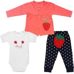 ست 3 تکه لباس نوزادی مدل توت فرنگی