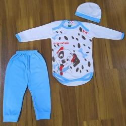 ست 3 تکه لباس نوزادی طرح سگ بازیگوش کد Ab30 رنگ آبی