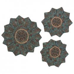 ست 3 تکه رومیزی ترمه مدل ستاره کد TRSETASA21