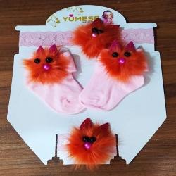 ست 4 تکه نوزادی مدل Poom رنگ صورتی