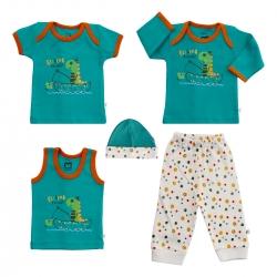 ست 5 تکه لباس نوزادی آدمک طرح Dinosaur