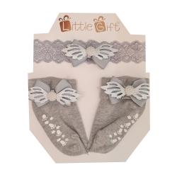 ست هدبند و جوراب نوزادی مدل بال فرشته رنگ طوسی