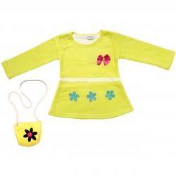ست کیف و پیراهن نوزادی دخترانه طرح پاپیون کد G109-2