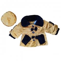 ست پالتو و کلاه دخترانه مدل پاپیون رنگ قهوه ای روشن