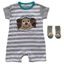 ست سرهمی و جوراب نوزادی نوبی طرح میمون کد FF-278