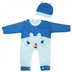 ست سرهمی و کلاه نوزادی مدل Dotted کد 1 رنگ آبی