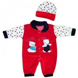 ست سرهمی و کلاه نوزادی مدل ستاره کد Ge2 رنگ قرمز