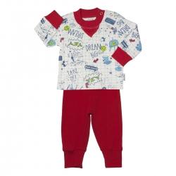 ست سویشرت و شلوار پسرانه آدمک مدل 110102 رنگ قرمز