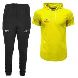 ست تی شرت آستین دار و شلوار مردانه مدل 00030621 رنگ زرد                     غیر اصل