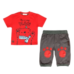 ست تی شرت و شلوارک بچگانه طرح خرس کد 53 رنگ قرمز