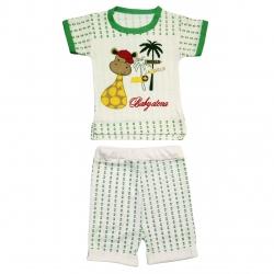ست تیشرت و شلوارک نوزاد طرح زرافه کد M228