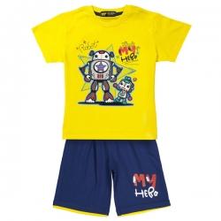 ست تی شرت و شلوارک پسرانه خرس کوچولو مدل Baby Robot کد 02