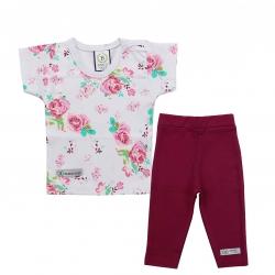 ست تی شرت و شلوار نوزادی دخترانه برگ سبز مدل گل رز
